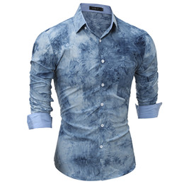 Wholesale Bamboo Shirt Wholesale - 2017Shirt Men's Long Sleeve New Brand Clothing Top Quality Print Tie dye for Designer Business Fashion Men's Blouse