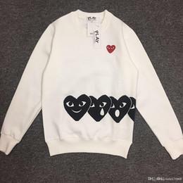 Wholesale model heart - Japanese tide brand Peach Heart men and women models round neck hedging long sleeve plus velvet sweater black heart love lovers