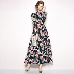 f8e6004af09 Floral Dresses Women Party Prom Maxi Dress Long Sleeve Slim Fit Vintage  Print Black Shirt Dress