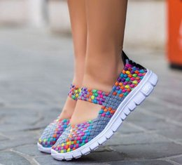 Wholesale Cool Weave - Yon-Dream Cool Summer Woven Flats Shoes For Women Handmade Breathable Slip On Colorful Shoe Mujer Drop Shipping
