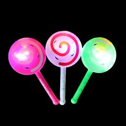 Wholesale Glow Lollipop - 1PCS Cute LED Lollipop Flashing Sticks Kids Baby Glowing Hand Rattles Bell Light Up Toys Birthday Gifts Random color