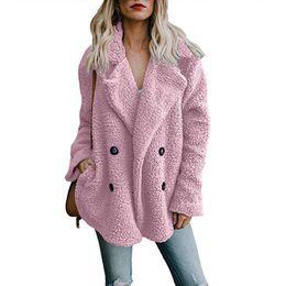 Женщины Пальто Осень Зима Шерсть Пальто Дамы Стекаются Свободные Длинные Пальто Розовый Уличная Мода Ropa Де Mujer Де Invierno Плюс Размер от