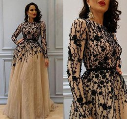 Wholesale Custom Womens Dress Shirts - 2018 Gorgeous Beading Prom Gown with Long Sleeves Lace Crew Neckline Evening Dresses Champagne Elegant Womens Dress Plus Size Formal Wear