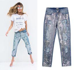 Rabatt Pailletten jeans | 2019 Pailletten Jeans im Angebot