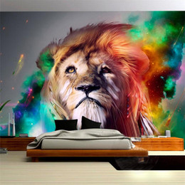 Wholesale Photo Lions - 3D Lifelike Animal European-style Lion Custom Photo Wallpaper Murals Living Room Sofa Backdrop Embossed Paper Modern Home Decor