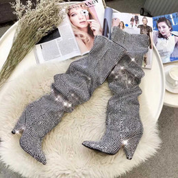 Wholesale Rhinestone Covered Pumps - Designer Full Embroidered Crystals Knee High Boots Women Pointed Toe Thigh High Boots With Covered Cone Heels Pumps High-heeled Shoes