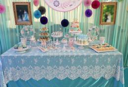 Länglicher tisch online-150 * 300 cm Oblong Spitze Stoff Tischdecken Tischdecken Läufer Sofa Abdeckungen Hochzeit Home Decor Küche Esszimmer Textilien Dekoration