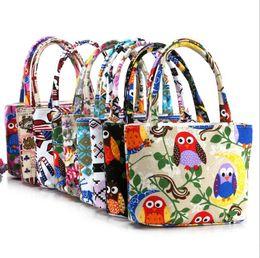 Saco do dinheiro da coruja on-line-Estilo inglaterra lona Floral tote zipper bag coruja impressão mulheres bolsa de viagem ao ar livre maquiagem moeda bolsa de dinheiro sacos de armazenamento de praia saco de mão
