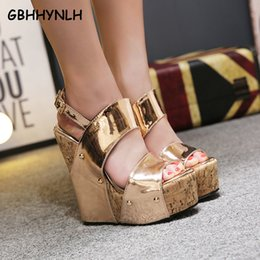 f2b86ee6d5a wholesale women Gladiator Sandals woman Platform Wedges Summer Creepers  Casual Buckle Shoes ladies Sexy Fashion High Heels LJA321