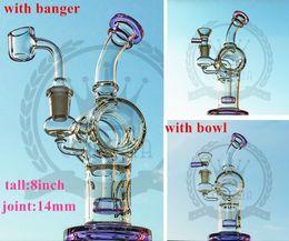 Wholesale Wax Bubbler - Bong water pipe dab rig oil rigs double honeycomb perc purple wax quartz banger heady pipes bongs heady Beaker bubbler jet bent Neck