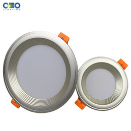 Wholesale downlight frame - LED Downlight Aluminum+PC 3 5 7 9 12 15 18W Ceiling Recessed Light Round Silver Frame Foyer Bed Room Inroom Lamp