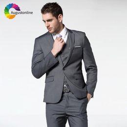 Augustonline Gris oscuro Trajes de hombre de negocios Novios de boda Vestir Esmoquin 3 piezas (chaqueta + pantalones + chaleco) Trajes de novio Prom Blazer desde fabricantes