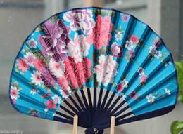 Fleur d'éventail bleue en Ligne-Ventilateur à main chinois pliant bleu bambou fleurs peinture Fan