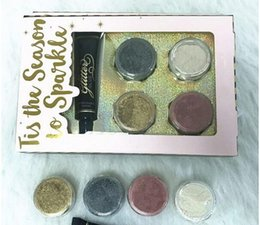 Wholesale face glue - Hot sale Faced eyeshadow 4 colors LOOSE GLITTER AND GLITTER PRIMER SET Glitter Glue Tis The Season To Sparkle Set DHL shipping