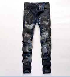 2019 club de broderie Top hommes broderie droite Jeans Fashion Designer Mens patch rivet Jeans Slim night club club de broderie pas cher