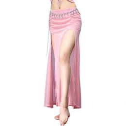 Сексуальная юбка для танца живота онлайн-2018 Sexy Mesh Oriental Belly Dance Costume Split Long Skirt for Women Belly Dancing Clothes  Clothing Dancer Wear
