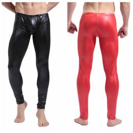 50e6fb346f8 men tight leather leggings 2019 - Men s Sexy Skinny Faux Leather Long Pants  Trousers Shiny Slim