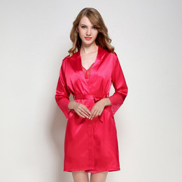 baeac57bba New Red Women Silky Sexy Lingerie Robe Lace Soft Lady Sleepwear Long Solid  Satin Nightgown V-neck Robe Dressing Gown M L XL