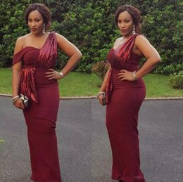 Wholesale One Shoulder Sequined Dresses Blue - African Burgundy Sexy Mermaid Long Prom Dresses One Shoulders Sequined Prom Evening Gowns Cheap Vintage Black Girls Formal Party Wear