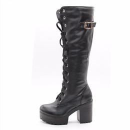 Botas de nieve mujer cool online-KarinLuna 2018 tallas grandes 34-43 estilo de calle tacones altos frescos Botas hasta la rodilla Mujer Plataforma Invierno Mujer Zapatos Snow Boot femenino