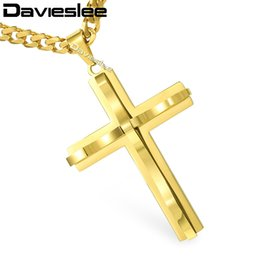 Wholesale Cuban Link Gold Chains Wholesale - whole saleDavieslee Mens Chain Curved Cross Pendant Necklace Stainless Steel Curb Cuban Link Black Gold Silver Tone 18-36inch LKPM137