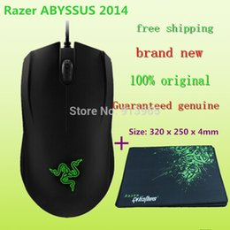Wholesale Padded Gift Bag - Brand NEW Razer ABYSSUS 2014 Gaming Mouse,3500DPI,Green light ,Synapse 2.0+ Gift Goliathus Mouse pad  Size: 320 x 250 x 4mm+bag