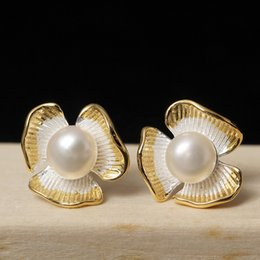 Wholesale Earring Freshwater Pearl - New arrival 925 Sterling Silver Earring fashion jewelry Trifolium petals natural freshwater pearl earring stud charm wholesale woman jewelry