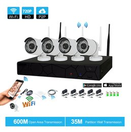 Wholesale Securities Camera - 4CH CCTV System Wireless 720P NVR 4PCS 1.0MP IR Outdoor P2P Wifi IP CCTV Security Camera System Surveillance Kit