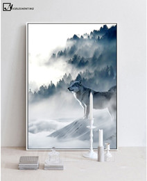 Wholesale Modern Art Nature Painting - NICOLESHENTING Nordic Art Wolf Snow Mountains Art Canvas Poster Minimalist Print Nature Picture Modern Home Room Decoration