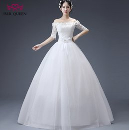 Wholesale Half Chinese - ISER QUEEN Boat NecK Hand Made Flower Lace Country Wedding Dress Half Sleeve White Color Plus Size Chinese Cheap Wedding Gown WX0077