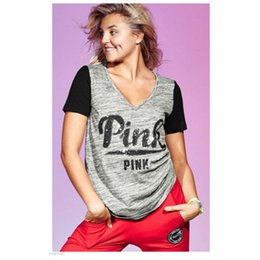 Wholesale Wholesale Hot Pink Tee Shirts - Women's Summer T shirt New Pink Letter Printed v-neck short sleeve T-shirts Splicing Loose Hip hop Tops Tee 2 color 5 size HOT
