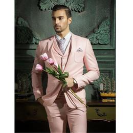 Blazers rosas online-Ventas calientes Color rosado Traje de hombre 3 piezas (chaqueta + pantalón + chaleco + corbata) Formal Clásico Slim Fit Blazer personalizado Prom Novio Esmoquin Terno 085