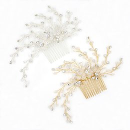 Wholesale Modern Hair Accessories - A Stunning Modern Wedding Hair Combs Crystals In Clear Flexible And Bendable Gold Or Silver Bridal Headpieces Tiaras Bridal Accessories