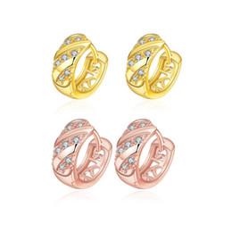 Boucles d'oreilles de mode européenne Loudiao Zircon or, 18 K boucles d'oreilles plaqué or, vente en gros vente chaude ronde zircon d'or de mode livraison gratuite E035 ? partir de fabricateur