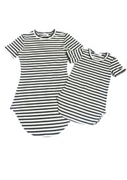 Wholesale Matching Mommy Daughter Dresses - Family Matching Striped Dress Mother and Daughter Casual Summer Dress mommy me matching set outfits