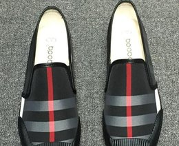 Wholesale Business Sandals - 2018 New trend dress shoes luxury brand loafers men sandals grid business canvas Leisure shoes Large size: 39 - 44 Free shipping