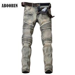 Wholesale Motor Jeans - ABOORUN Fashion Mens Biker Motor Jeans Patchwork Jeans Retro Pleated Slim fit Denim Pants for Male YC1077