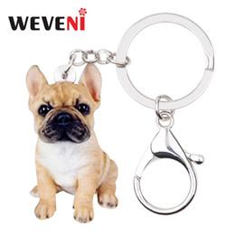 2019 jóias anéis de cão WEVENI Acrílico Sentado Bulldog Francês Cachorro Cão Chaveiro Chaveiro Anéis Animal Jóias Para Mulheres Meninas Bolsa Encantos Do Carro Animais de Estimação jóias anéis de cão barato