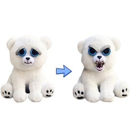 "Wholesale Polar Stuff - Feisty Pets Plush toys 22cm One Second Change Face Karl the Snarl- Adorable 8.5"" Plush Stuffed Polar Bear That Turns Feisty With A Squeeze"