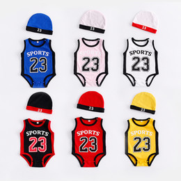 vestidos marrones monos Rebajas Newborn Baby Rompers Cute Basketball kids Clothes boys Girl Jumpsuits Roupas De Bebe Infantil Baby 23 Sport Clothing
