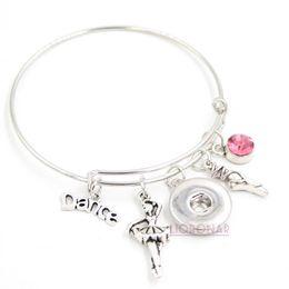 Argentina Venta al por mayor Snap Jewelry I love Dance Bracelet expansible Bangle Ballerina Ballet Shoe Snap Button Bracelets for Dancing Dancer Gifts cheap i love shoes Suministro