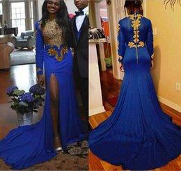Wholesale spandex zipper front - Royal Blue Spandex Mermaid Prom Dresses Gold Appliques Beads Sexy Side Split 2018 African Long Sleeves Chapel Train Formal Evening Gowns