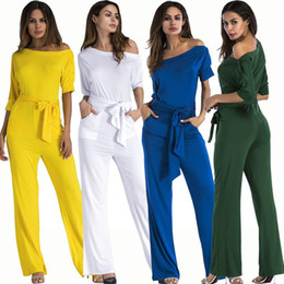 Wholesale Women One Leg - Full Length Jumpsuits Romper Women Overall Sexy One Shoulder bodycon tunic Jumpsuit for party elegant Wide Leg Pant body femme 2018