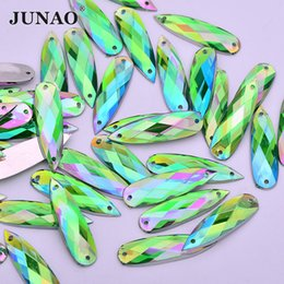 JUNAO 100pcs 8 28mm Sewing Green AB Drop Rhinestones Flatback Acrylic  Strass Appliques Sew On Crystal Stones for Needlework e63cca7d6eb4