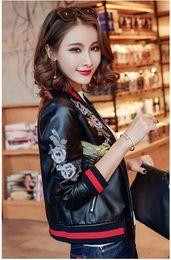 Wholesale women plus size baseball jacket - 2018 autumn women street black flower printing pu leather baseball jacket long sleeve Plus size luxury bomber jacket