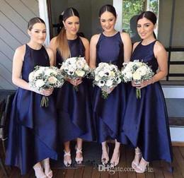Wholesale Online Bridesmaids Dresses - 2018 Navy Blue Short Bridesmaid Dresses A Line Jewel High Low Women Wedding Events Party Dresses Bridesmaid's Dresses Unter $100 Online
