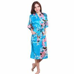 Wholesale Chinese Peacock Silk - Plus Size XXXL Blue Chinese Female Silk Rayon Robe Kimono Night Gown Printed Peacock&Floral Sleepwear pijamas mujer S001-D