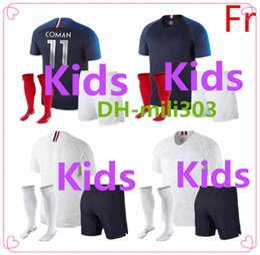 Wholesale Hot Kids Boys - Hot 2018 Kids POGBA Maillot uniform 18 19 world cup children soccer jersey MBAPPE football shirt GRIEZMANN LACAZETTE DEMBELE kids kits+socks