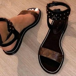 Wholesale Plaid Boxes - 2018 NEW Arrival WOMEN NOMAD SANDAL BLACK GOLD GLADIATOR FLAT SHOES 35-41 with original box dust band