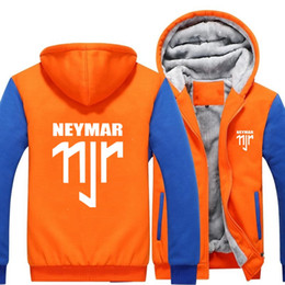 Wholesale B Cardigan - 2018 New USA SIZE Men Winter Autumn Hoodies NEYMAR 11JR pattern Fleece Coat Baseball Uniform Sportswear Jacket wool -B